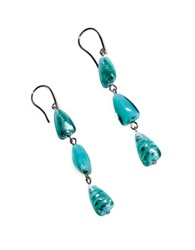 Antica Murrina Veneziana Marina 1 Turquoise Green Murano Glass And Silver Leaf Dangling Earrings