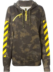 Off White Camouflage Print Hoodie Brown
