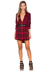 Black Orchid Fray Hem Shirt Dress Red