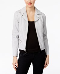 Alfani Petite Faux Leather Moto Jacket Only At Macy's New City Silver