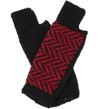 The North Circular Furze Alpaca Fingerless Gloves Red With Jet