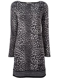 Michael Michael Kors Leopard Print Fitted Dress Black