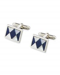 David Donahue Sodalite And Mother Of Pearl Argyle Cuff Links Silver
