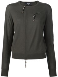 Dsquared2 'Barb Wire' Zip Up Sweater Green