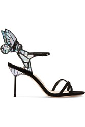 Sophia Webster Chiara Patent Leather And Suede Sandals Black Silver