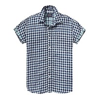 Scotch And Soda Open Weave Check Cotton Shirt Navy