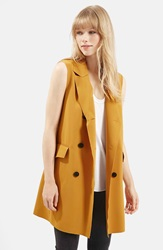 Topshop Sleeveless Double Breasted Jacket Mustard