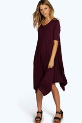 Boohoo Half Sleeve Hanky Hem Swing Dress Berry