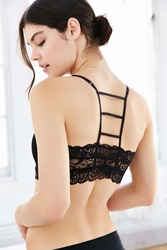 Urban Outfitters Ina Caged Back Lace Bra Black