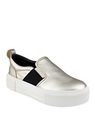 Kendall Kylie Tenley Leather Slip On Flatform Sneakers Gold