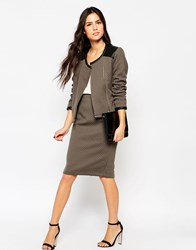 Traffic People Diamond Quilted Pencil Skirt Brown