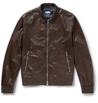 Brunello Cucinelli Perforated Leather Bomber Jacket Brown