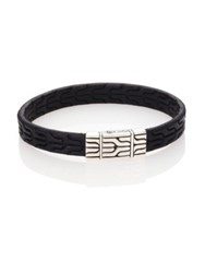 John Hardy Classic Chain Leather And Sterling Silver Bracelet Black