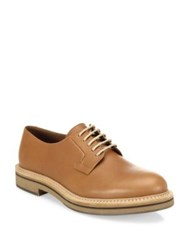Brunello Cucinelli Colorblock Leather Derby Shoes Light Brown