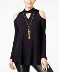 Amy Byer Bcx Juniors' Cold Shoulder Tunic Top With Necklace Black
