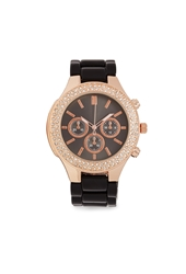 Forever 21 Rhinestone Two Tone Watch Black Rose