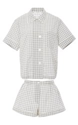 Araks Organic Cotton Gingham Shirt And Shorts Pajama Set Plaid