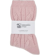 Johnstons Cable Knit Cashmere Socks Gin