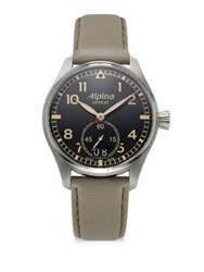 Alpina Sapphire Crystal Leather Strap Watch Beige