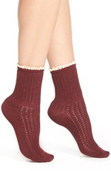 Women's Peony And Moss Lace Trim Crew Socks