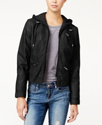 American Rag Knit Hood Faux Leather Jacket Only At Macy's Black