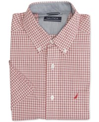 Nautica Men's Wrinkle Resistant Orchid Pink Gingham Short Sleeve Shirt Nautica Red