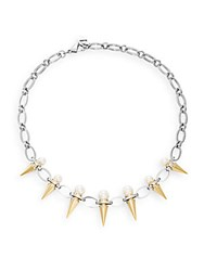Majorica 8Mm 10Mm White Pearl Spike Chain Necklace Silver Gold