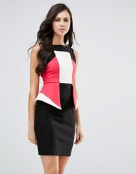 Vesper Colourblock Pencil Dress With Peplum Detail Pink