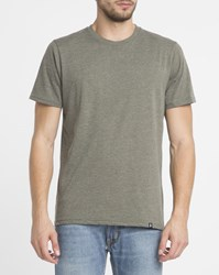 Roscoe Mottled Olive Ted Round Neck T Shirt Green