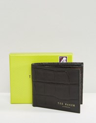 Ted Baker Wallet In Croc With Bi Fold Black