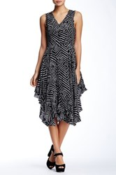 Gracia Dot Print Ruffle Hem Dress Black
