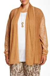 Lafayette 148 New York Long Sleeve Wave Stitch Cardigan Plus Size Brown