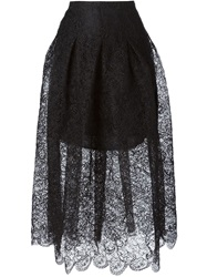 Oscar De La Renta Pleated Layered Lace Skirt Black