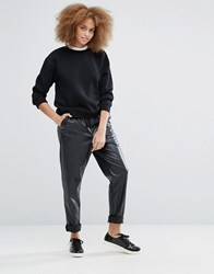 Monki Leather Look Relaxed Trouser Black