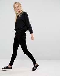 Monki Velvet Leggings Black