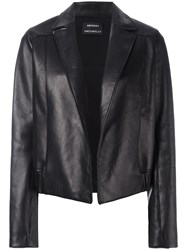Anthony Vaccarello Open Front Leather Jacket Black