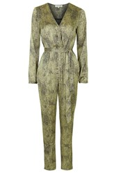Sophie Leopard Print Long Sleeve Jumpsuit By Wyldr Gold
