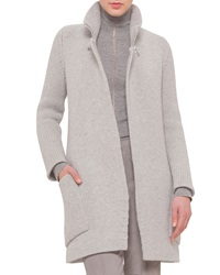 Akris Oversized Zip Collar Open Cashmere Cardigan