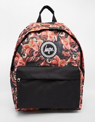 Hype Rose Print Backpack With Contrast Pocket Re1red1