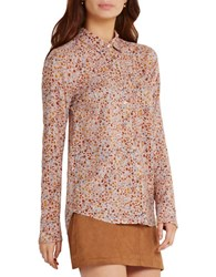 Bcbgeneration Floral Printed Button Up Shirt Pink