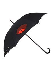 Lulu Guinness Cut Out Lips Kensington Umbrella Black