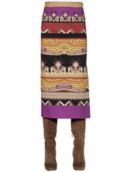 Etro Printed Stretch Jersey Pencil Skirt