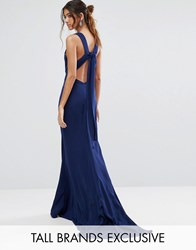 Jarlo Tall Maxi Dress With Bow Tie Back Navy
