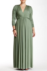 White Label By Rachel Pally Long Sleeve Kaftan Maxi Dress Plus Size Green