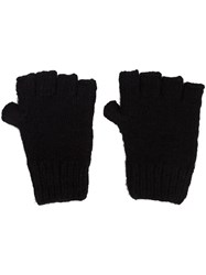 The Elder Statesman Cashmere Fingerless Gloves Black