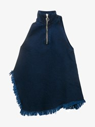 Marques Almeida Sleeveless Raw Edge Denim Top Blue Denim