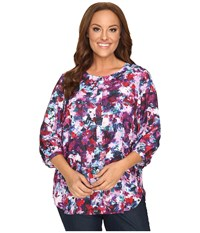 Nydj Plus Size Solid 3 4 Sleeve Pleat Back Loverly Blossoms Women's Long Sleeve Button Up Multi
