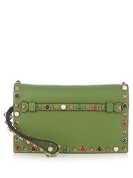 Valentino Rockstud Rolling Leather Clutch Green