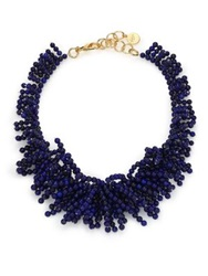 Nest Lapis Beaded Fringe Bib Necklace