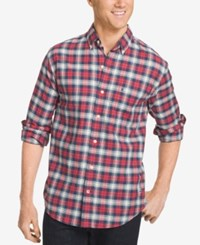 Izod Men's Plaid Button Down Long Sleeve Shirt Saltwater Red
